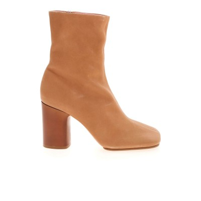 Acne Studios Womens Shoes Square toe ankle boots in beige cuts AD0368WHEATBEIGE