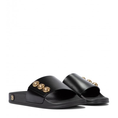 Balmain Women's Shoes Embellished leather slides New Arrival P00523044