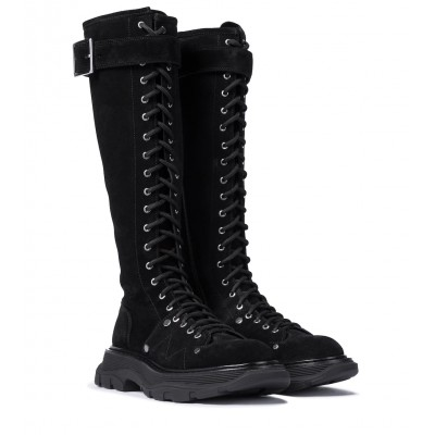 Alexander McQueen Womens Shoes Tread suede knee-high boots New Arrival P00530463